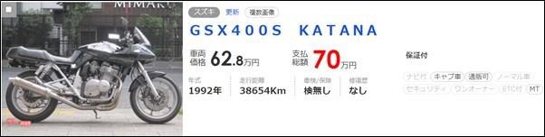 スズキGSX400S KATANAの値段は約80万円